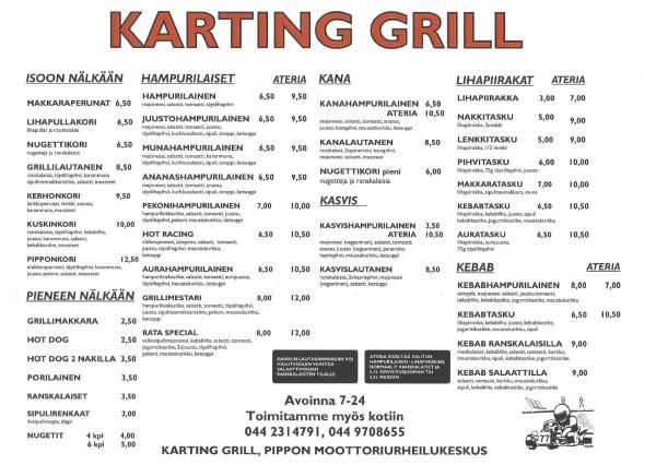 Karting Grill Menu